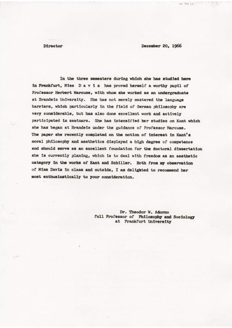 Gutachten Adorno ueber Davis